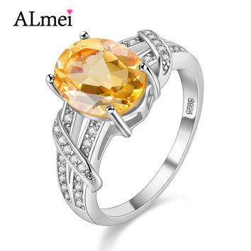 Almei 2.2CT Citrine 925 Sterling Silver Jewelry Gemstone Rose Gold Color Wedding Rings for Women Made of Natural Stones 40%FJ003