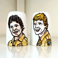 Salt and Pepper Shakers Ponch and Jon CHiPs Painted Portrait Retro T.V. Ceramic Illustration homage kitschy L.A. California - MADE TO ORDER