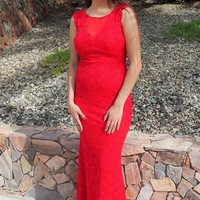 Beauty And Grace Red Sequin Lace Maxi Dress