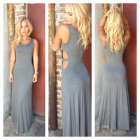 Charcoal Grey Open Side Modal Maxi Dress
