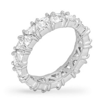 Freya Trillion Cut Eternity Stackable Ring | 6ct | Cubic Zirconia