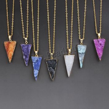 2017  Arrival Colorful Irregular Shape Natural Stone Pendant Necklace Women Druzy Created Gold Chain Necklace For Female