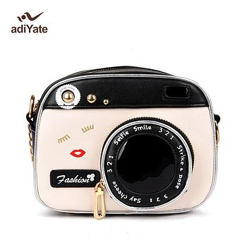 ADIYATE Camera Shape Shoulder Bag Personality Camera Modeling Bag Women Messenger Chain Bag Cheap Women Handbags Purse Wallet