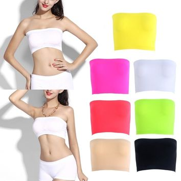 One-Piece Seamless Elastic Strapless Bandeau Bra Tube Top Bra Womens One Size