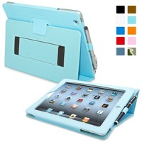 Snugg iPad 2 Case - Smart Cover with Kick Stand & Lifetime Guarantee (Baby Blue Leather) for Apple iPad 2