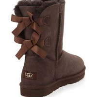 UGG:: bow leather boots boots in tube Coffee