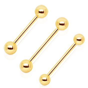 Gold Plated Barbell with One Gem Ball