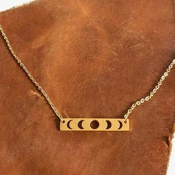 Moon Phases Gold Necklace