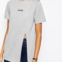 ASOS T-Shirt With Problem Embroidery and Split Font