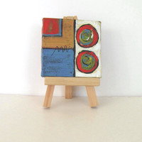 Original Acrylic Miniature Abstract Painting, mini canvas with easel, Stocking stuffer, gift idea