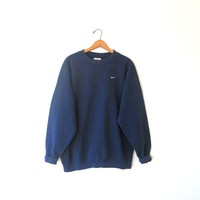 Vintage 1990s Navy NIKE Swoosh Athletic Sweatshirt Sz