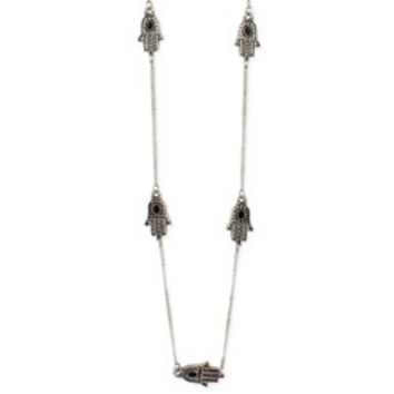 Silver Hamsa Hand Station Long Necklace