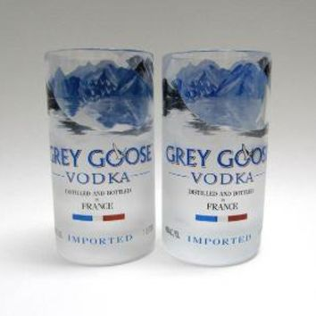 Recycled Grey Goose Bottle Glass Tumblers UPCYCLED by bottlehood