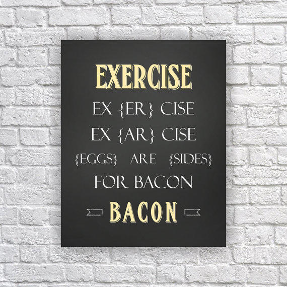 Exercise and Bacon Pun on Words Eggs Are from Picturality | Art