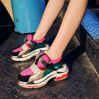 EARTH STAR White Shoes Women Brand Platform Sneaker Pu Leather Fashion Lady chaussure Breathable Autumn footware Mesh Girl Flats