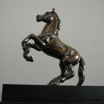 Art Deco Chrome Metal Horse Sculpture On Wood Stand