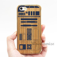 Real wood case, star war r2d2, iPhone 5C case, iPhone 5S 5 case, Wood cover, Bamboo, FREE screen protector [K18]