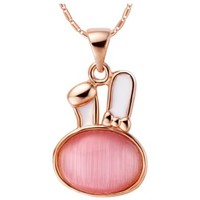 18K White Gold Plated Cute Bunny Pink Moonstone Pendant Necklace