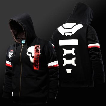 Overwatch Reaper Time To Reap Fleece Lined Zip Up Hoodie