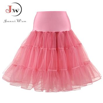 Tulle Skirts Womens Fashion High Waist Pleated Tutu Skirt Retro Vintage Petticoat Crinoline Underskirt Faldas Women Skirt saia