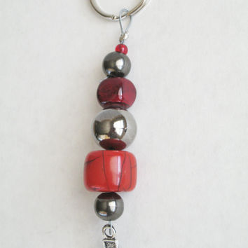 Handmade Cross Keychain, Red Silver Beaded Ladies Key Ring, Religious Keyring, Christian Life Faith, Women's Accessories, Red Quartzite