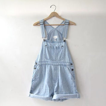 20% OFF SALE / 90s Bib Overalls jean shorts. washed out bibs shorts. Women's dungarees.