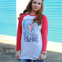 You are Chosen Graphic Raglan Top with Angel Wings and Heart Design