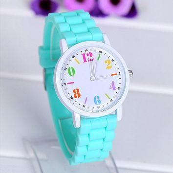 Women's Quartz Jelly Watch with Silicone Strap Band Mint Green