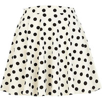 Black and white polka dot skater skirt