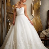 Mori Lee 1917 Beaded Lace Tulle Wedding Dress