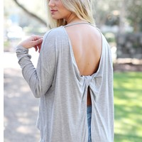 Heather Gray DLMN Twisted Back High-Low Top