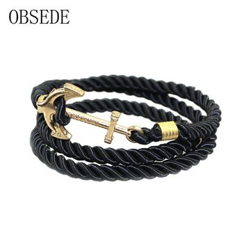 OBSEDE Vintage Woven Multilayer Anchor Bracelets & Bangles For Women Men Jewelry