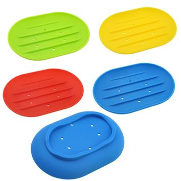 Silicon Soap Dish Water Bathroom Silicone Soap Box Storage Holder Plate Drain Worldwide Store