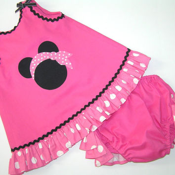 Custom Minnie Mouse summer outfit , Girl summer outfit , Pink Minnie Mouse Dress , Toddler summer outfit , Size 3M to 3T