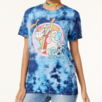 Nickelodeon X Love Tribe Juniors' Tie-Dyed Ren & Stimpy T-Shirt - Juniors Tops - Macy's