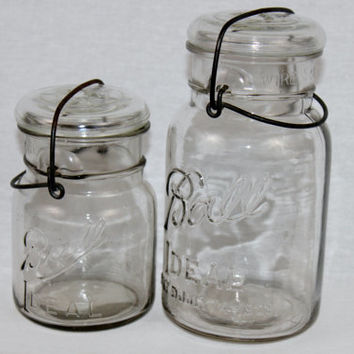 Antique Pair of Early 1900s Ball Canning Jars with Glass Lids