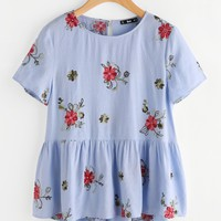 Flower Embroidered Keyhole Back Smock Top BLUE