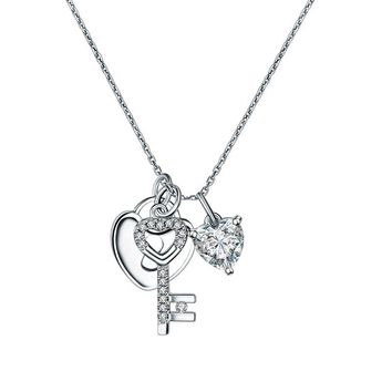 Love Heart Lock Key Sterling Silver Necklace