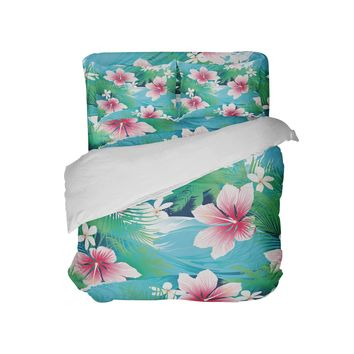 Aqua and Pink Hibiscus Hawaiian Tropical Comforter