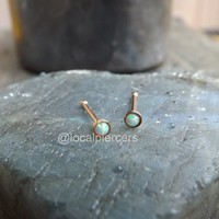 Rose Gold Opal Nose Ring 18g Screw Tiny Stud Bone Tragus Piercing White Opals 1/4″ Gem 2.5mm Earring Top Dainty Body Jewelry Stainless Steel