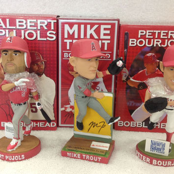 Mike Trout and Albert Pujols Peter Bourjos Bobblehead Set