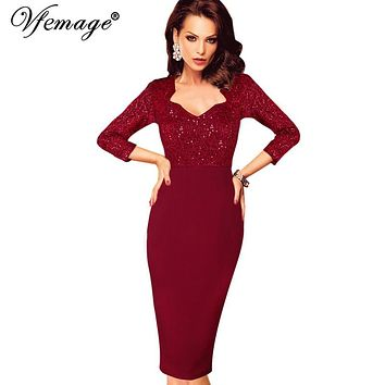 Vfemage Womens Elegant Vintage Sequins Lace High Waist Casual Party Club Work Office Fitted Bodycon Pencil Dress 4308