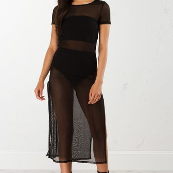 Mesh Dress in Black and Nude