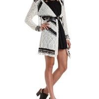 Chevron Stripe Tunic Cardigan with Fringe