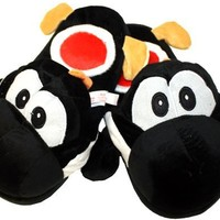 """(Adult) Black Yoshi Plush Slipper - One Size Fits All up to 11"""" Long"""