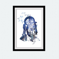 Star Wars watercolor art print R2D2 poster  R2D2 colorful print Star wars poster Home decoration Kids room art Wall decor blue print W523