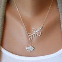 Antique Silver Bird Branches Necklace from http://www.looback.com/
