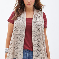 FOREVER 21 PLUS Crocheted Open-Front Vest