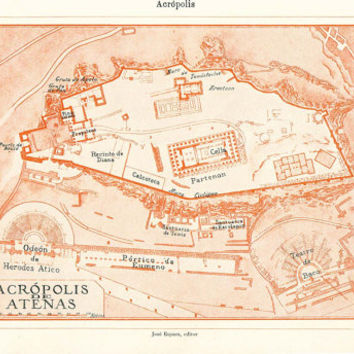 Athens Acropolis Plan 1920s Greece Historical Map