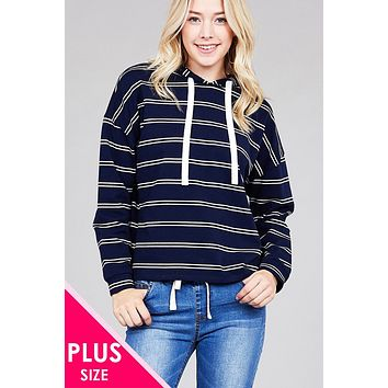 Plus Size French Terry Stipped Hoodie